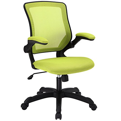 Modway Veer Office Chair with Mesh Back and Green Vinyl Seat With Flip-Up Arms  - Ergonomic Desk And Computer Chair