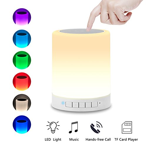 Night Light Bluetooth Speakers, Aufitker Portable Wireless Bluetooth Speaker Bedside Table Lamp Desk Lamp, Smart Touch Control LED Mood Lamp, TF Card/AUX/Speakerphone (Bluetooth Speaker lamp)