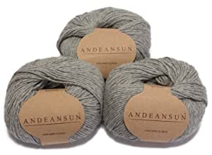100% Baby Alpaca Yarn Skeins - Set of 3 (Light Grey) - AndeanSun - Luxuriously soft for knitting, crocheting - Great for baby garments, scarves, hats, and craft projects - Light Grey
