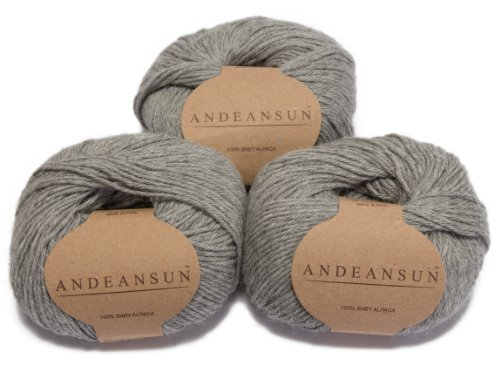 100% Baby Alpaca Yarn Skeins - Set of 3 (Light Grey) - AndeanSun - Luxuriously soft for knitting, crocheting - Great for baby garments, scarves, hats, and craft projects - -