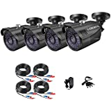 DEATTI 4Pack AHD 1080P CCTV Camera Outdoor for Home CCTV System, Black