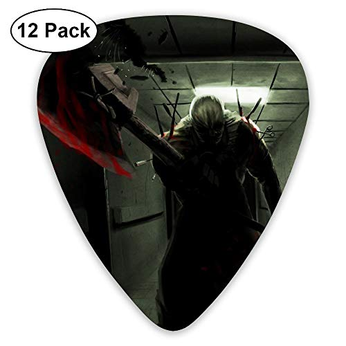 Happy Halloween Demon With Axe.jpeg Ultra Light 0.46 Medium 0.71 Heavy 0.96mm Printed Round Flat Celluloid Jazz Electric Acoustic Bass Guitar Pick Ccessories Variety Pack Pocket