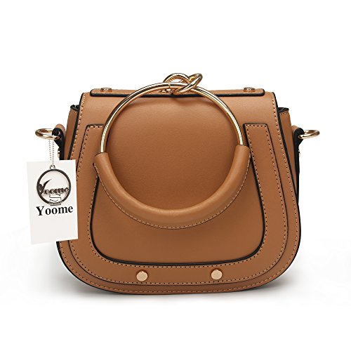 Yoome Elegant Rivets Punk Style Circular Ring Handle Handbags Messenger Crossbody Bags For Girls - Brown.Leather Handle by Yoome