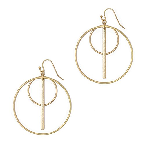 Rosemarie Collections Women's Fashion Geo Circle and Bar Hoop Dangle Earrings (Matte Gold)