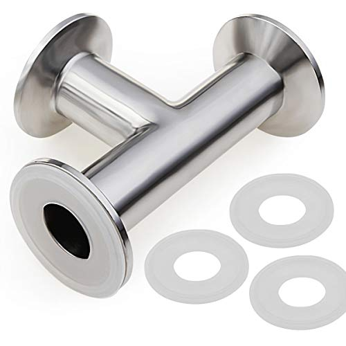 Clamp Tee 3 Way, 304 Stainless Steel Sanitary Tee with 3 Silicone Gasket Fits 1.5