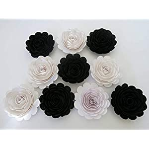 "Classic Black and White Wedding Roses, 10 Large Paper Flowers, 3"" Blossoms, Modern Bridal Party Bridesmaid Bouquet DIY, Elegant Centerpiece 41"