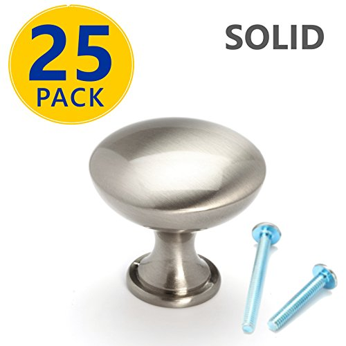 25 Pack | SOLID Brushed Nickel Round Cabinet Knobs: Modern Euro Style Stainless Steel Finish Kitchen Cabinet Hardware / Dresser Drawer Handles (Round Nickel Drawer Pulls)