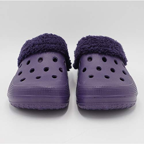 Purple Women Walking Slippers Winter Indoor Breathable Shoes Non Warm Clogs Shoes Men House Slip Lined Outdoor for Fur nwa4qgn8WT