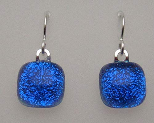 Petite Fused blue denim Dichroic Glass dangle Earrings Sterling Silver ear wires #352 ()