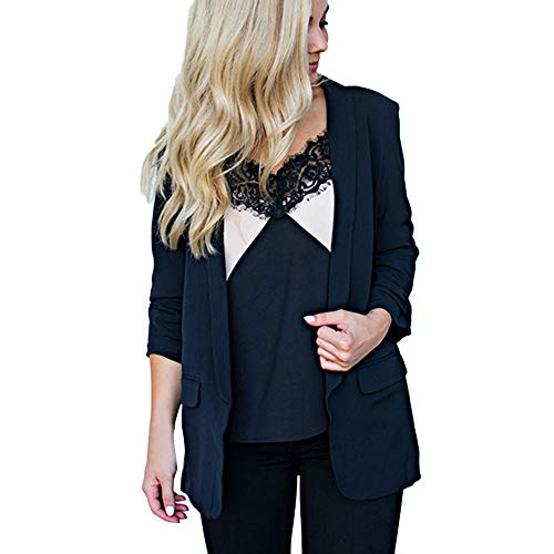 Womens Solid Long Sleeve Blazer Open Front Cardigan AmyDong Casual Jacket Coat Tops Blouse(Black,XXXXXL)