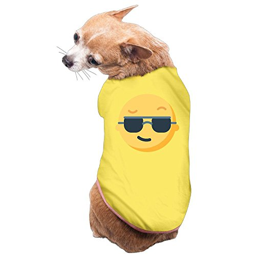 Dog Cat Pet Shirt Clothes Puppy Vest Soft Thin Sunglasses Cool Emoji Emoticon 3 Sizes - Puts On Emoticon Sunglasses