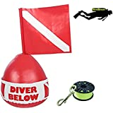 DiveSmart Buoy Float with 100ft High Visibility Neon Yellow Scuba Finger Reel (ABS) for Surface Signalling …