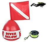 DiveSmart Buoy Float 100ft High Visibility Neon Yellow Scuba Finger Reel (ABS) Surface Signalling