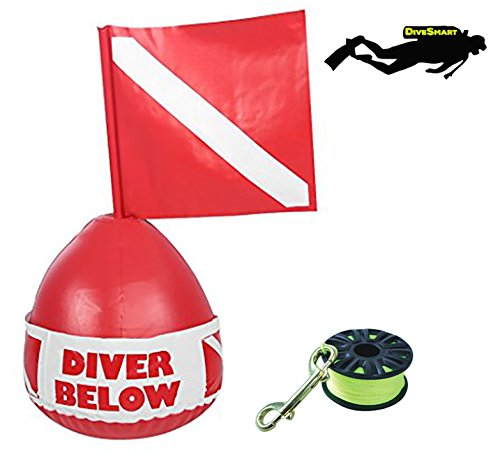 (DiveSmart Buoy Float with 100ft High Visibility Neon Yellow Scuba Finger Reel (ABS) for Surface Signalling)