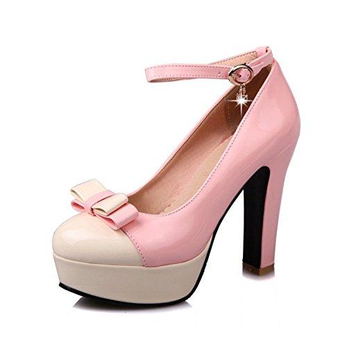 Mujer Grueso Redonda Tacón Cabeza Boca de Sandalias de Alto QXH Pink Inferior Zapatos Superficial 07qE0wxH