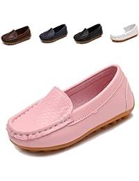 Toddler Boys Girls Leather Loafers Slip on Boat Dress...
