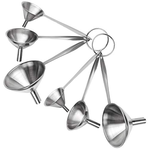 Stainless Steel Funnels For Kitchen With Handles-Set Of 6