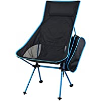Innovative Foldable Camp Chair, Stuck-slip-proof Feet, High Back, Headrest, Super Comfort Ultra light Heavy Duty, Perfect for the Backpacking/Hiking/Fishing/Beach/Sport