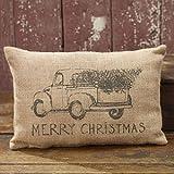 Burlap Truck Merry Christmas Pillow - Tree - Cute Gift Idea - Decor Decoration