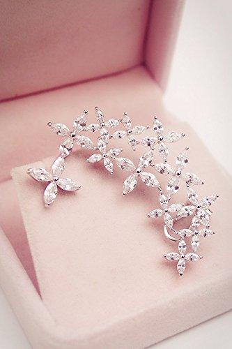 huo siyan Star Zircon Crystal Flower Asymmetrical Earrings earings Dangler Eardrop s925 Silver pin Clip-on Ear Clip