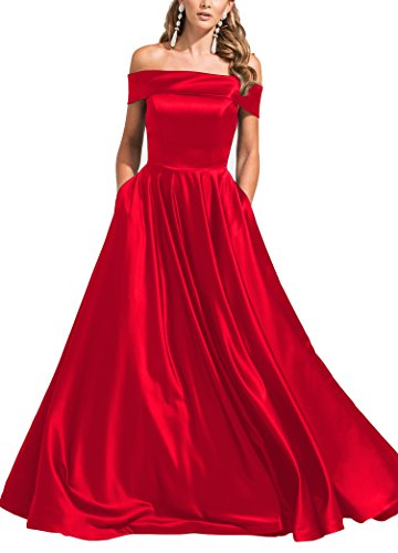 Red Carpet Celebrity Dresses - Geshun Women's Modest Off The Shoulder Satin Prom Ball Gown Formal Long Evening Dresses Red Size 16