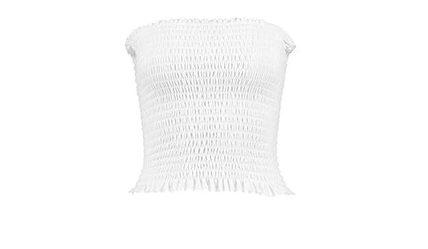 e72a072c0f R KON New Ladies Girls Crepe Shirred Smocked Tube Sheering Boobtube Top  (ML