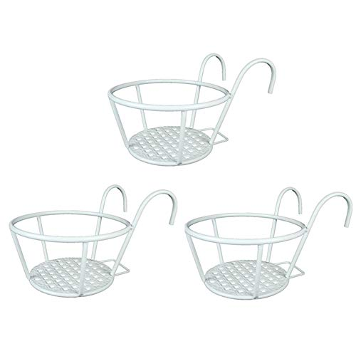 Kingbuy Iron Art Hanging Baskets Flower Pot Holder,Over The Rail Metal Fence Planters Assemble Hangers Great for Patio Balcony Porch or Fence - Pack of 3 (White Style)