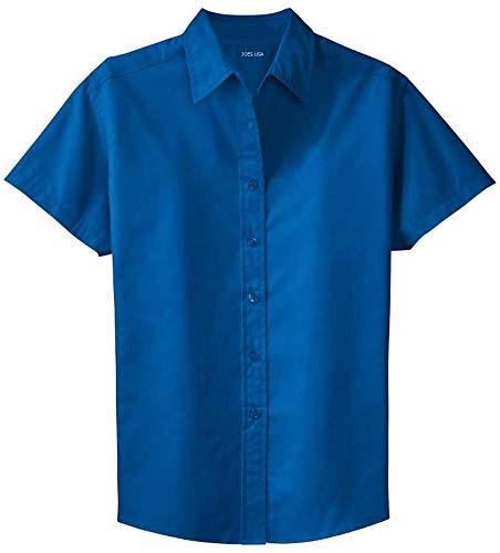 Joe's USA Womens Short Sleeve Wrinkle Resistant Easy Care Shirts-S Royal/Classic -