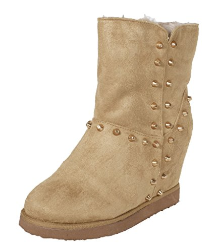 Lustacious Women's Interior Sherling Fur Hidden Heel Pull On Ankel Wedge Boots with Flat Side Studs, camel faux suede, 10 - Boots Ankel