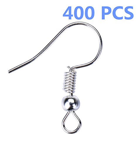I-MART Stainless Steel Ball & Coil Earring Hooks/Findings/Wires, Fish Hook Earrings/Hoops/Ear Wire for DIY Jewelry Making (Pack of 400 - Silver)