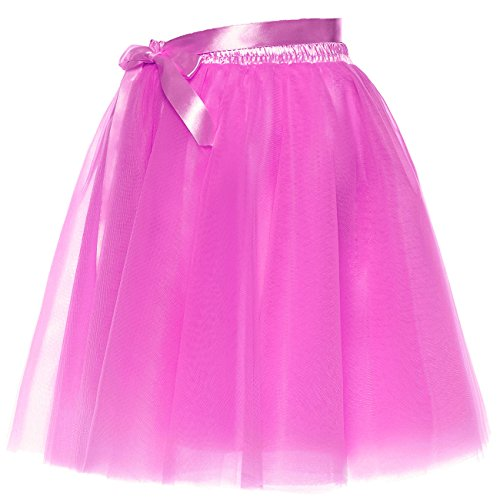 BeiQianE Femmes Short Bowknot Layered Tulle Jupon Slip Party Prom Jupe Sash Amovible Rose Vif