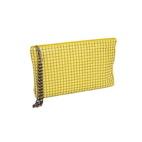 Clutch Whiting Davis Yellow Mega Wristlet amp; Mesh Zz781