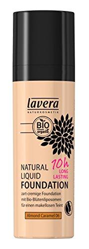 lavera Natural Liquid Foundation Makeup ∙ Farbe Almond Caramel Hautfarbe ∙ 10h Long Lasting ∙ Natural & innovative Make up ✔ vegan ✔ Bio Pflanzenwirkstoffe ✔ Naturkosmetik ✔ Teint Kosmetik 1er Pack (1