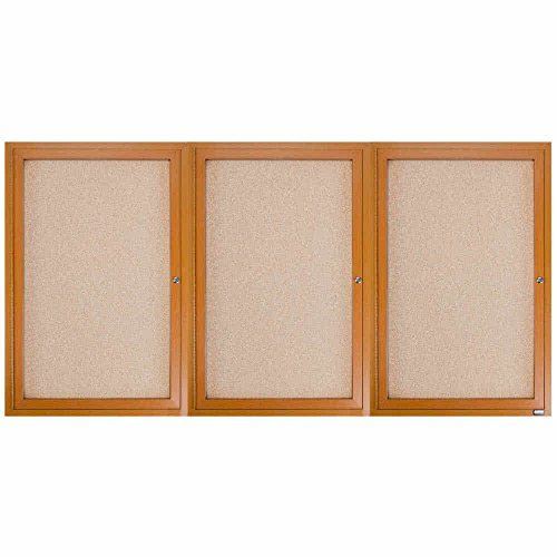 TableTop King OBC3672-3R 36'' x 72'' Enclosed Indoor Hinged Locking 3 Door Bulletin Board with Natural Oak Frame by TableTop King
