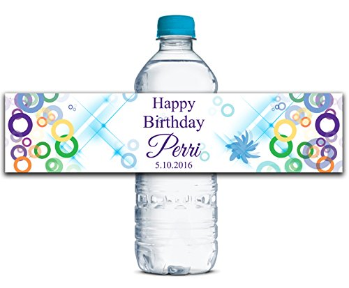 Water Personalized Bottled (Personalized Water Bottle Labels Adhesive Waterproof Custom Birthday Stickers 8