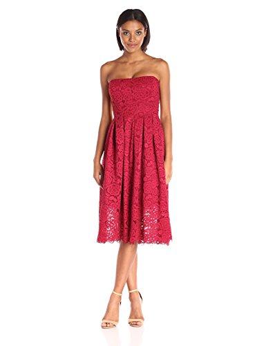 - Vera Wang Women's Lace Strapless Dress, Red, 4