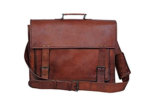 RK Unisex Vintage Handmade Leather Satchel Laptop Padded Messenger Bag, 16 x12x 5 Inches, Brown - Korchmar Leather Satchel