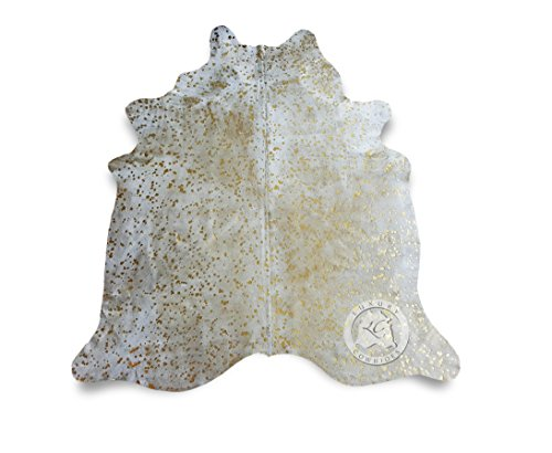 Metallic Devore Gold on Off White Cowhide Rug from Luxury -