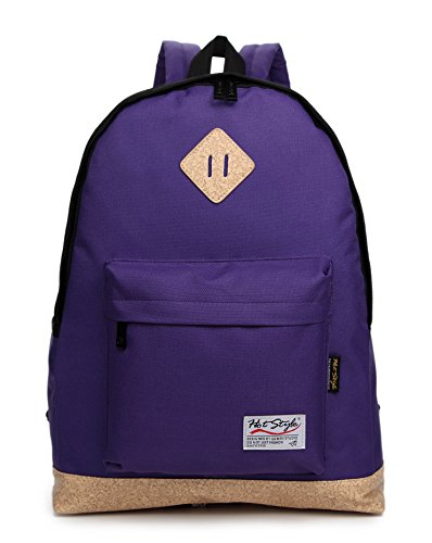 HotStyle 931F JEROME Casual Canvas Backpack (20L) Cute School College Daypack Bag Rucksack Bookbag for Teenage Boys Girls Students With 14-inches Laptop Compartment (Purple)