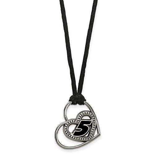 Stainless Steel LogoArt NASCAR # '5' Pierced Heart Pattern Pendant Silk-cord Necklace 18