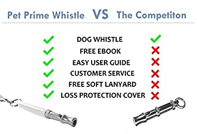 Dog Whistle to Stop Barking by Pet Prime - FREE Lanyard Strap & Dog Whistle Guide eBook - Complete Set for Repellent, Obedience and Training Aid - Lifetime Warranty [White]