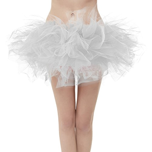 Girstunm Women's Classic Layers Fluffy Costume Tulle Bubble Skirt Silver-Standard Size -