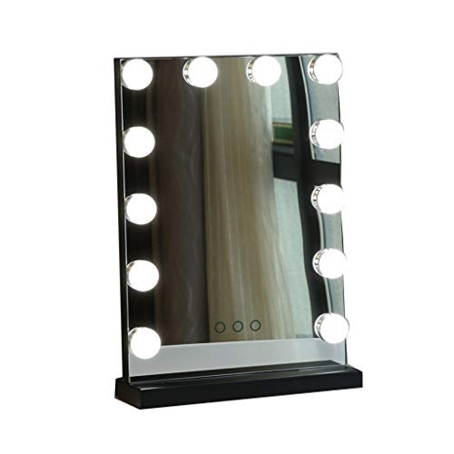 SDK Makeup Table with Mirror and Lights,Small 10.62inX15.35in with 12 Dimmable Bulbs -