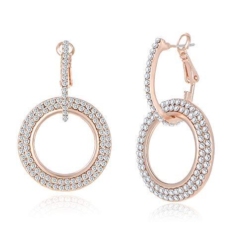 Austrian Crystal Rhinestone Hoop - Dangle Earrings for Women Girls Rose Gold Hoop Earrings Classic Crystal Rhinestone Drop Earrings Pierced Austrian Style Hypoallergenic Earrings Womens Bridal Jewelry