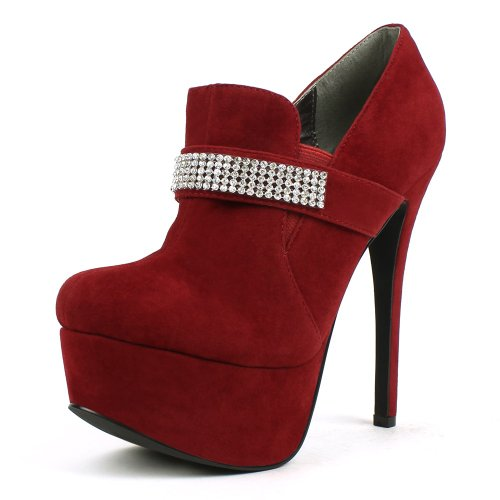 Mark & maddux Women Russell-02 Rhinestoned Loafer Booties Red