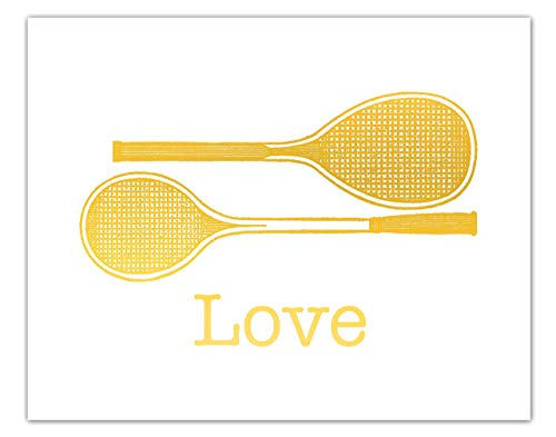 Tennis Wall Art Gold Foil Print Gift For Tennis Player Or Coach Vintage Rackets Sports Decor