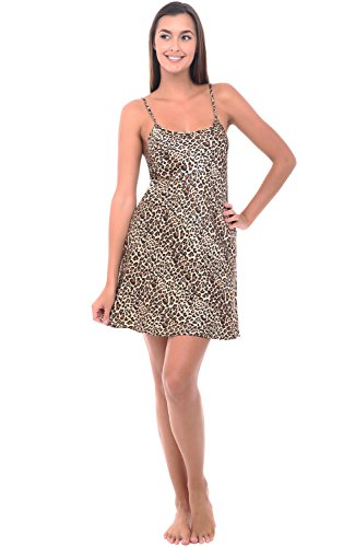 Del Rossa Womens Satin Nightgown, Long Camisole Chemise, XL Tan Leopard (A0766P04XL) ()