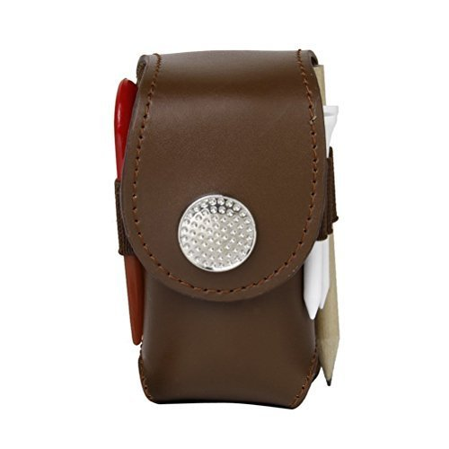 ULTNICE Mini Portable Faux Leather Golf 2 Balls and Kits Tools Holder Pouch Bag Brown