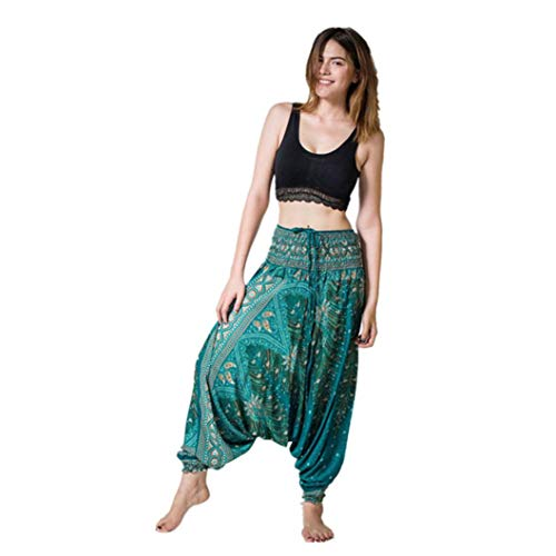 Yoga Boho Sommer Hosen Grün beiläufige Aladdin Baggy 2018 Overall Damenmode lose Pluderhosen Frauen Luckycat xZFqAA