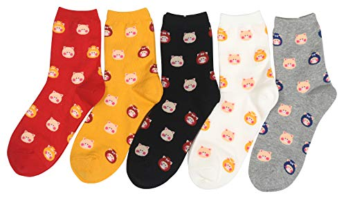 Customonaco Women's Cool Animal Fun Crazy Socks (Small Pig 5 Pairs) ()